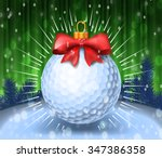 golf ball with red bow on... | Shutterstock .eps vector #347386358