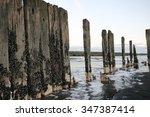 Small photo of Remains of a Wharf at Patea, Taranaki, New Zealand