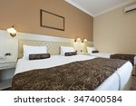 single and twin bed in hotel... | Shutterstock . vector #347400584