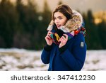 beautiful young smiling girl in ... | Shutterstock . vector #347412230
