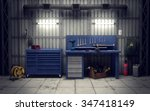 garage workshop with tools  ... | Shutterstock . vector #347418149