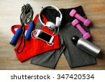 set for sports and smart phone... | Shutterstock . vector #347420534