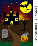 halloween background with old... | Shutterstock .eps vector #34742398