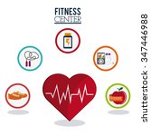 gym concept with fitness icons... | Shutterstock .eps vector #347446988