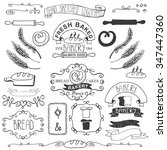vintage retro bakery badges...   Shutterstock . vector #347447360