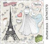set of paris eiffel tower... | Shutterstock . vector #347447570
