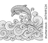 hand drawn zentangle dolphin... | Shutterstock .eps vector #347449124