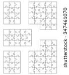 set of white puzzles  vector | Shutterstock .eps vector #347461070