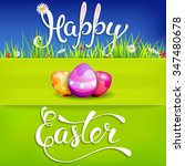 easter greeting card with... | Shutterstock .eps vector #347480678