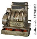Small photo of Old vintage cash register isolated on white background with Clipping Path