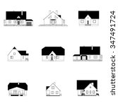 set of houses with attics... | Shutterstock .eps vector #347491724