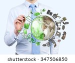 man pointing at the brown... | Shutterstock . vector #347506850