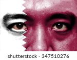 human face painted with flag of ... | Shutterstock . vector #347510276