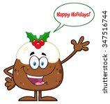 happy christmas pudding cartoon ... | Shutterstock .eps vector #347516744