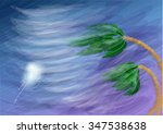 hurricane and palms | Shutterstock .eps vector #347538638