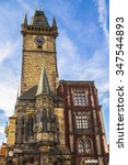 the town hall of prague in the... | Shutterstock . vector #347544893