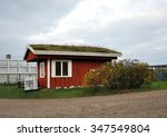 small scandinavian red house... | Shutterstock . vector #347549804