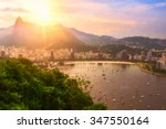 Small photo of Sunset view of Corcovado and Botafogo in Rio de Janeiro. Brazil