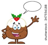 happy christmas pudding cartoon ... | Shutterstock . vector #347556188