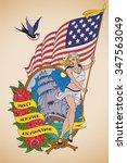 old school us navy tattoo of a... | Shutterstock . vector #347563049