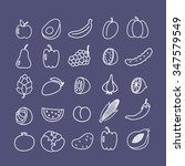 doodle line icon set. fruits... | Shutterstock .eps vector #347579549