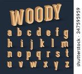 3d wood font set  vector   Shutterstock .eps vector #347595959