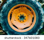 detail of an old orange tractor ... | Shutterstock . vector #347601083