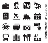 tourism   tourist icons set... | Shutterstock .eps vector #347611040