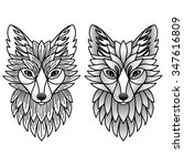 fox set. illustration for... | Shutterstock . vector #347616809