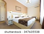 single and twin bed in hotel... | Shutterstock . vector #347635538