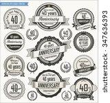 anniversary retro badges... | Shutterstock .eps vector #347636393
