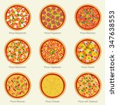 set of pizza with different...   Shutterstock .eps vector #347638553