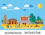 flat design vietnamese... | Shutterstock .eps vector #347642708