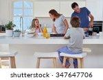 happy smiling caucasian family... | Shutterstock . vector #347647706