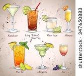 new era drinks cocktail set ... | Shutterstock .eps vector #347650883