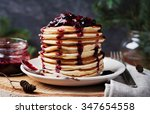 stack of american pancakes or... | Shutterstock . vector #347654558