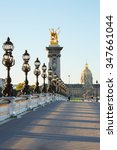 Small photo of Empty Alexander III bridge in Paris in the early morning, France
