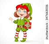 cute little girl santa elf with ...