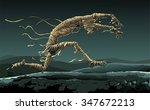 mummy runs through the desert... | Shutterstock .eps vector #347672213
