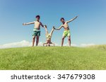 brothers playing upside down on ...   Shutterstock . vector #347679308