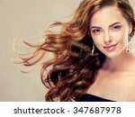 beautiful girl with long wavy... | Shutterstock . vector #347687978