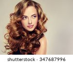 beautiful girl with long wavy... | Shutterstock . vector #347687996