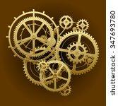 Gold gear wheels of clockwork in dark brown surface. Techno background. Vector Illustration