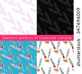 set of seamless patterns with... | Shutterstock .eps vector #347696009