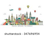 travel and tourism background.... | Shutterstock .eps vector #347696954
