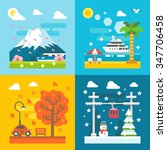 flat design travel seasons set... | Shutterstock .eps vector #347706458