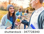 group of young people students... | Shutterstock . vector #347728340