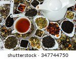 Stock photo assortment of dry tea various kinds of tea isolated on white different kinds of tea leaves tea 347744750