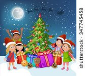 christmas tree and happy kids | Shutterstock . vector #347745458