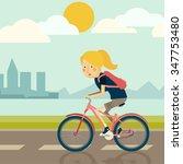 girl ride bike   Shutterstock .eps vector #347753480